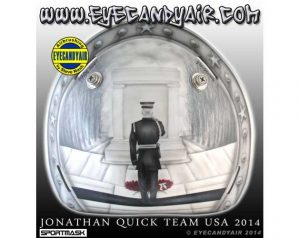 The back plate of Jonathan Quick's goalie mask, featuring the Tomb of the Unknowns