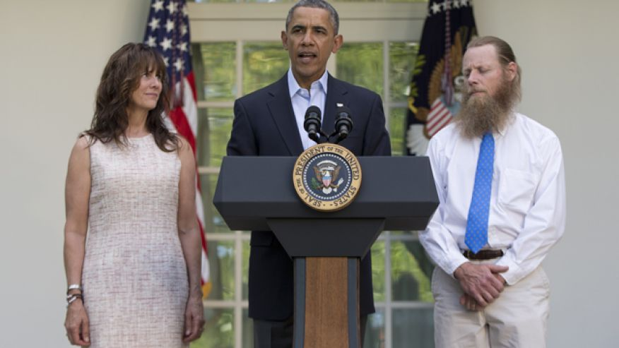 President Obama with Bowe Bergdahl's parents, announcing his release on May 31, 2014