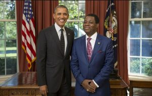 Photo of Obama and Ambassador Mangue taken September 24, 2013, in the Oval Office