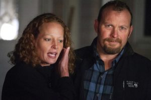 Kaci Hickox with boyfriend Ted Wilbur, outside their home in Maine