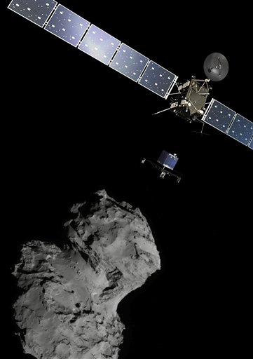 The mission poster from the Rosetta mission, showing pictures of the spacecraft composited in with images taken of the comet.