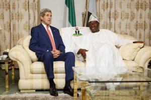 Secretary Kerry and Nigerian President Jonathan, meeting on Sunday.  (photo: AP)