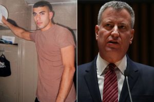 Officer Andrew Dossi and Mayor Bill de Blasio (photo:New York Post)