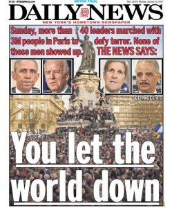 The front page of the New York Daily News, January 12, 2015