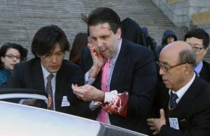 Ambassador Lippert after being attacked Thursday morning in Seoul.