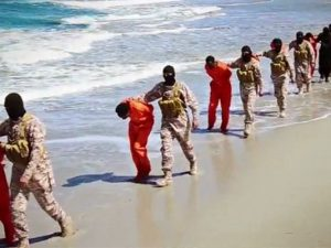 A still from the video purportedly showing ISIS executing Christians from Ethiopia  (photo: AP)