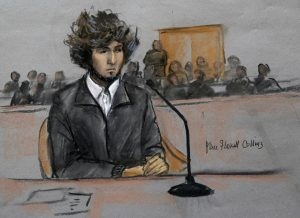 Courtroom sketch of Tsarnaev from December 18, 2014 (credit: AP/Jane Flavell Collins)