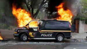 Police Van burned