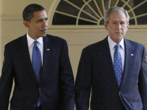 President Bush and President Obama, in 2008