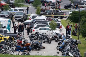 The scene after the shooting fight in Waco, TX (photo credit: Rod Aydelotte/Waco Tribune Herald, via Associated Press)
