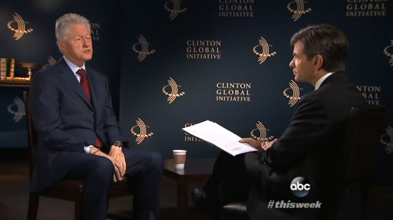 George Stephanopoulos interviews Bill Clinton in September 2014 (screengrab from ABC News)