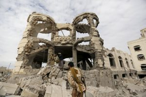 Home of a Houthi leader, bombed by Saudi airstrikes