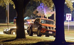 The suspects' pickup truck, outside the Curtis Culwell Center in Garland, TX (photo: EPA)