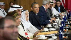 President Barack Obama, Secretary of State John Kerry, and others, meet with Gulf Cooperation Council leaders and delegations at Camp David, Md., Thursday, May 14, 2015. Obama and leaders from six Gulf nations are trying to work through tensions sparked by the U.S. bid for a nuclear deal with Iran, a pursuit that has put regional partners on edge. Obama is seeking to reassure the Gulf leaders that the U.S. overtures to Iran will not come at the expense of commitments to their security. (AP Photo/Pablo Martinez Monsivais)