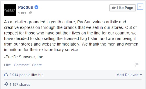 Pacsun Pulls Upside Down Flag T Shirt After Outcry Victory Girls Blog