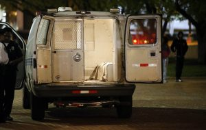 A Baltimore police van on Saturday, April 25th.  (photo: Alex Brandon/AP)