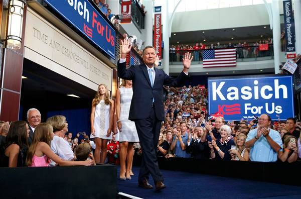 Governor John Kasich (R-OH) at his election kickoff rally (photo: Reuters)