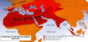 Map of Muslim Expansion-Dar al Harb refers to the expansion of Islam via war