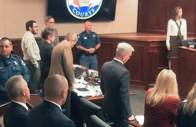 James Holmes in the courtroom when the guilty verdict was announced on July 16, 2015