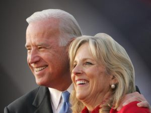 Democratic vice presidential candidate, Sen. Joe Biden, D-Del., and his wife Jill, greet the crowd before a rally at Putnam Hill Park in Zanesville, Ohio, Monday, Nov. 3, 2008. (AP Photo/Paul Vernon)