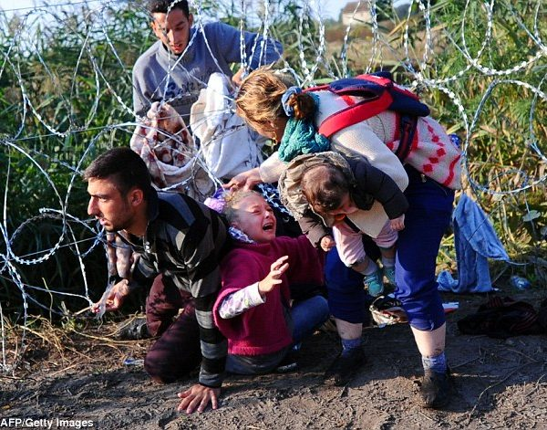Desperate Migrant Girl's Hair Gets Caught in Barbed Wire
