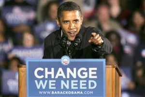 Democratic presidential candidate Sen. Barack Obama, D-Ill., speaks at a rally the night before election day, in Manassas, Va. on Monday, Nov. 3, 2008.  (AP Photo/Jacquelyn Martin)