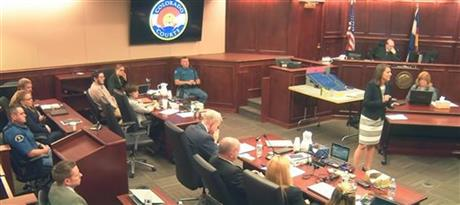 Video still from phase three of James Holmes' sentencing trial, from August 6, 2015 (via AP)