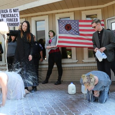 Satanists protest in support of Planned Parenthood