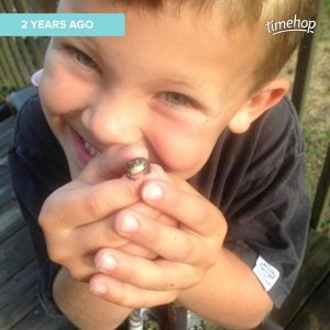 My boy with a baby toad he caught 2.5 years ago.