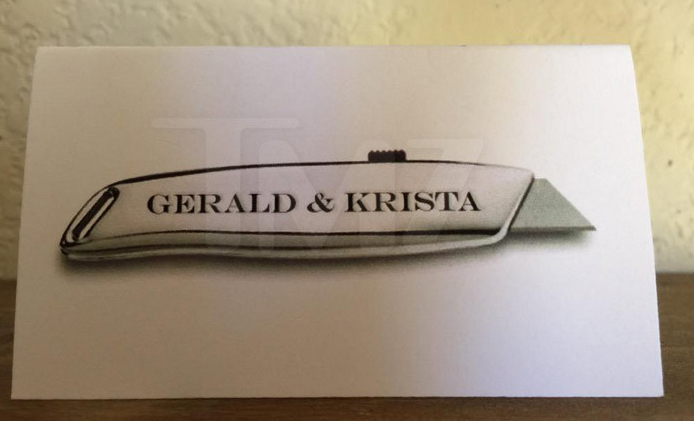 Guests received real, engraved box cutter wedding mementos. (Photo Credit: TMZ)