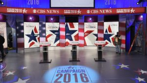 A November 14, 2015 photo shows the set where the Democratic Presidential Debate will take place in Sheslow Auditorium in the Old Main building at Drake University in Des Moines, Iowa. The second Democratic debate, hosted by CBS News and Twitter, will take place later on November 14th. AFP PHOTO/MANDEL NGAN (Photo credit should read MANDEL NGAN/AFP/Getty Images)