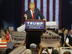 Republican presidential candidate Donald Trump speaks during a campaign stop Saturday, Nov. 21, 2015, in Birmingham, Ala. (AP Photo/Eric Schultz)
