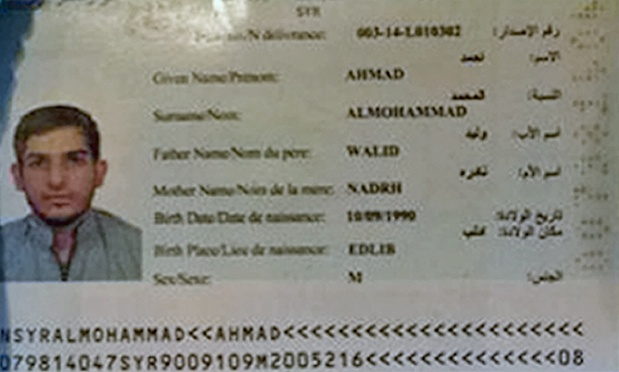 Photo of passport found on suicide bomber