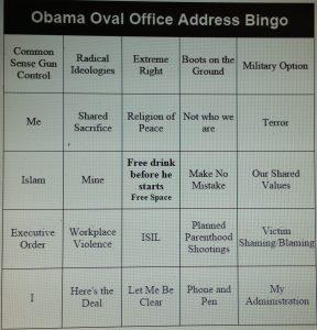 Obama Oval Office Address Bingo Card