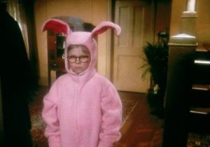 Pink Bunny suit from Christmas Story