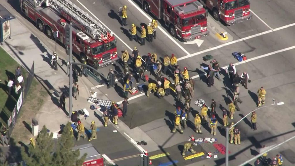 Triage on scene in San Bernadino (photo: KTLA)