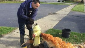 Tainted Water Flushed From Flint, MI Fire Hydrant