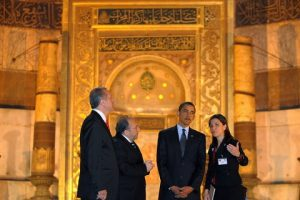 Mr. Obama at the Blue Mosque in Istanbul, Turkey with Prime Minister Erdogan