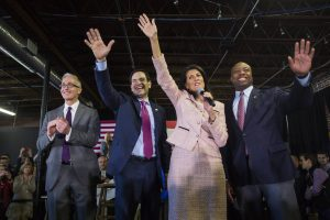 #MarcoRubio flanked by South Carolina Governor Nikki Haley, Senator Tim Scott and Trey Gowdy at a South Carolina rally on Friday