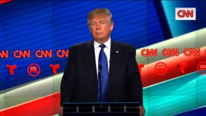 Donald Trump at the CNN GOP presidential debate in Houston, Texas on February 25, 2016.