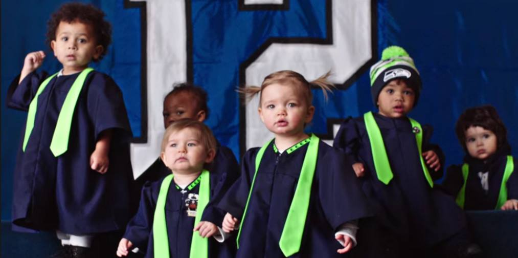 Super Bowl Seahawk babies, from the song  (screen shot from YouTube)