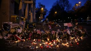 The memorial outside the Bataclan concert hall in Paris