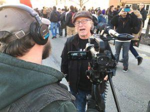 Bill Ayers protests Donald Trump