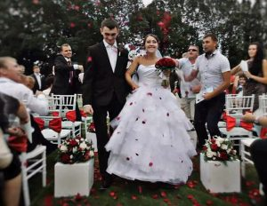 Russian hero Alexander Prokhorenko and his bride on their wedding day.