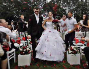 Russian hero Alexander Prokhorenko and his bride on their wedding day.