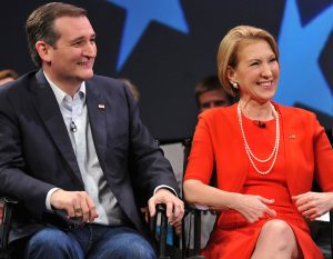 ORLANDO, FL - MARCH 11: Republican presidential candidate Sen. Ted Cruz (R-TX) and former candidate Carly Fiorina (L) in a discussion with political commentator Sean Hannity during a campaign rally at Faith Assembly of God Church on March 11, 2016 in Orlando, Florida. The candidates continue to campaign before the March 15th Florida primary. (Photo by Gerardo Mora/Getty Images)