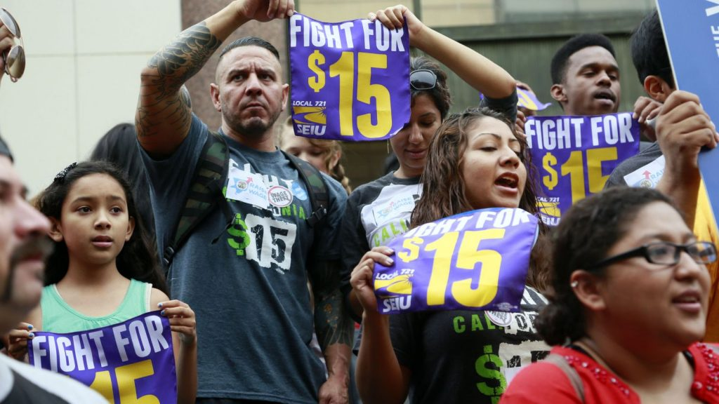 Fight for $15 rally in California (photo: AP)