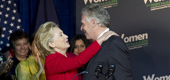 Terry McAuliffe and Hillary Clinton, when he was running for governor in 2013.  ( AP Photo/Jose Luis Magana)