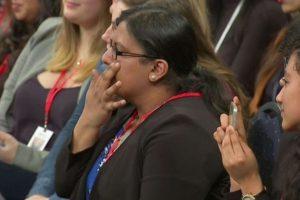 Maria Munir in pain as she addresses President Barack Obama
