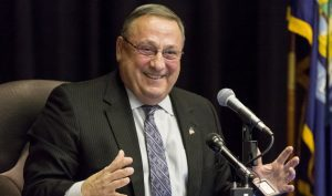 MEXICO, ME - MARCH 22: Gov. Paul LePage holds a town hall-style meeting in Mexico, Maine. (Photo by Ben McCanna/Portland Press Herald via Getty Images)